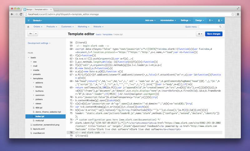 Olark code in code editor