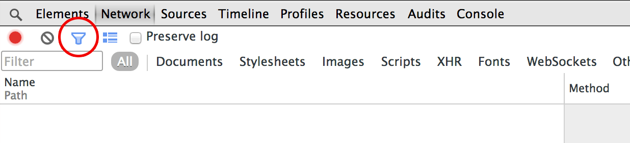 Chrome Developer Tools Network Tab with Filter