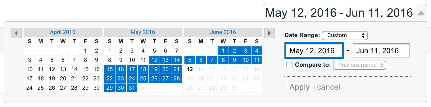 Date range selector