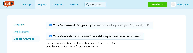 Enable Google Analytics integration