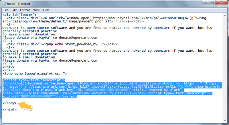 Olark live chat opencart integration guide olark code in text editor maxwellsz