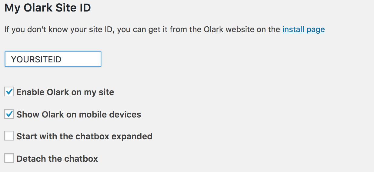 Olark plugin panel