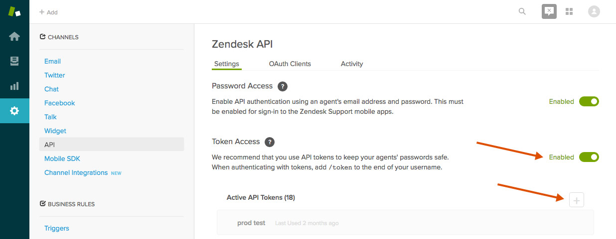 Zendesk api settings page