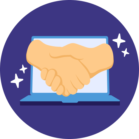 An illustration of a handshake with a laptop in the background.