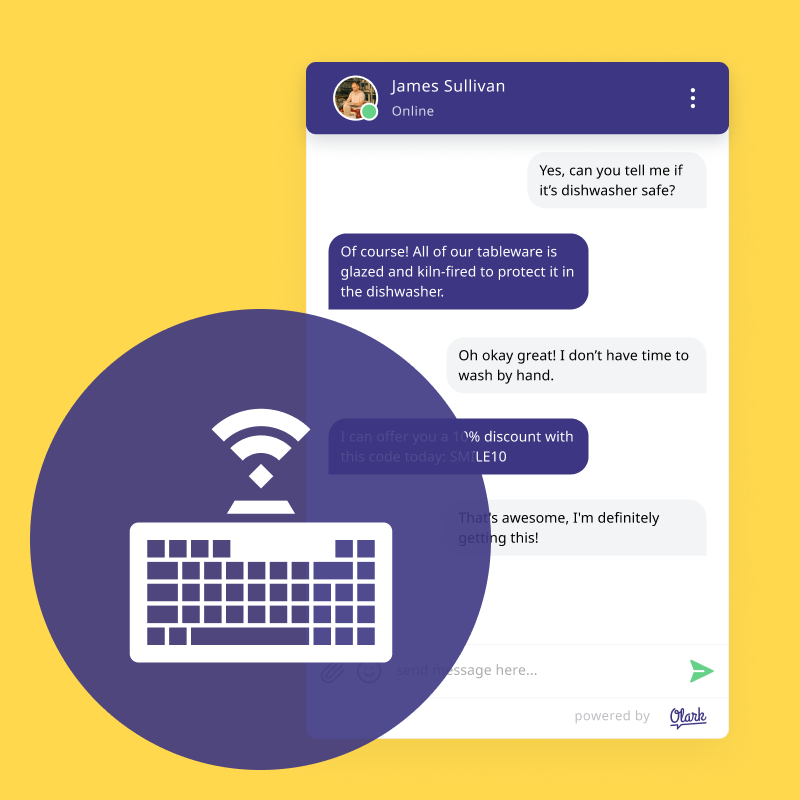 A keyboard being used to chat.