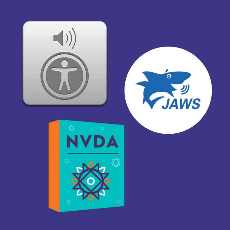 Logos for VoiceOver, JAWS, and NVDA screen readers.