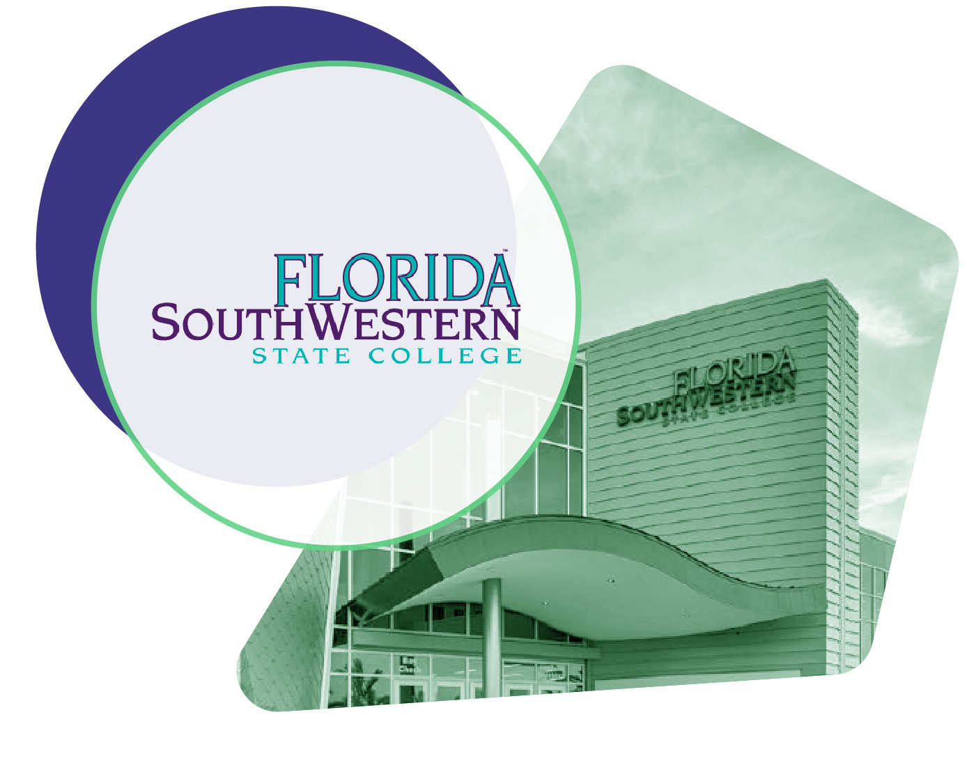 Florida SouthWestern State College logo and student image