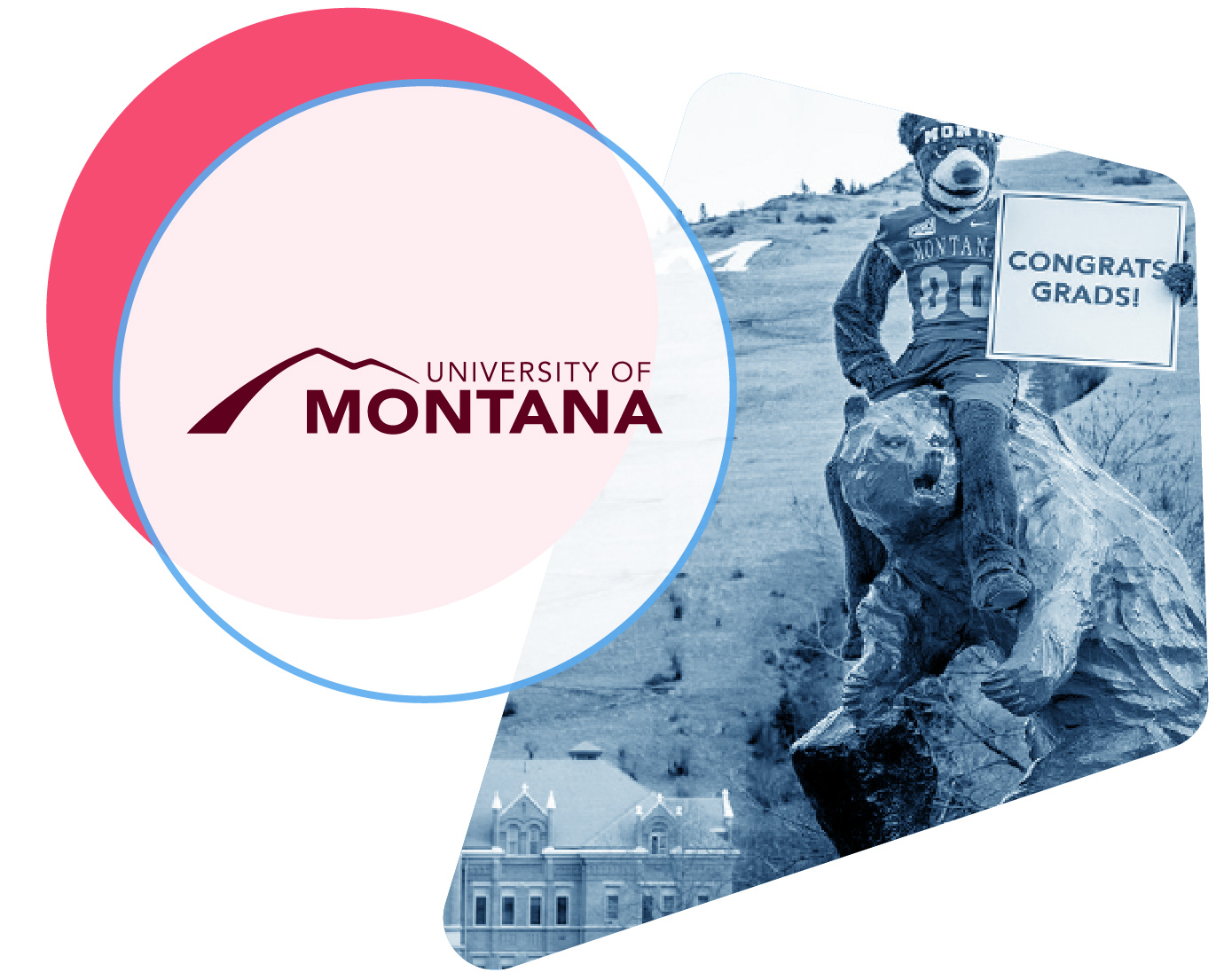 University of Montana logo and campus image with live chat icons