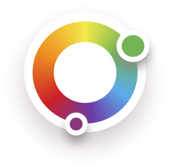 A color wheel showing the full spectrum of colors with two colors chosen