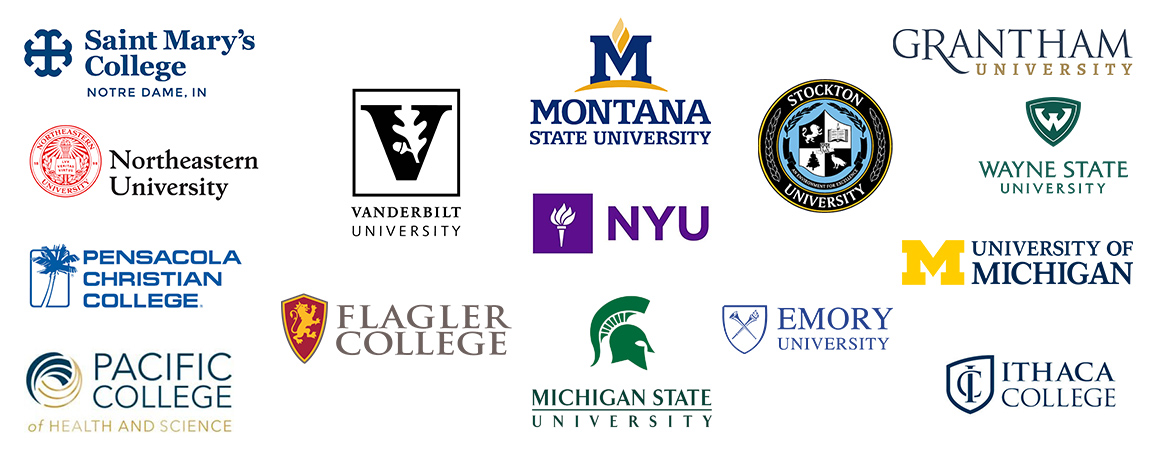 Logos of colleges and universities that use Olark