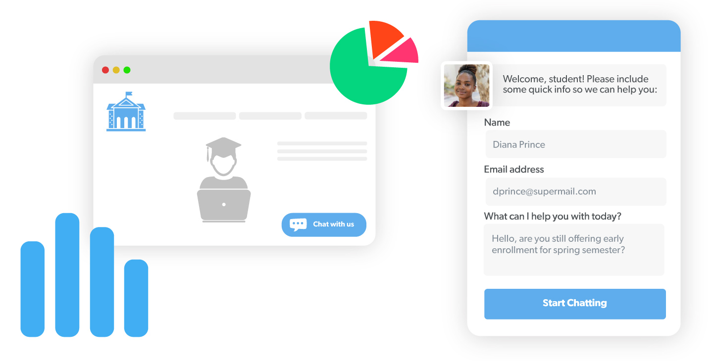 An education-focused pre-chat survey for live chat