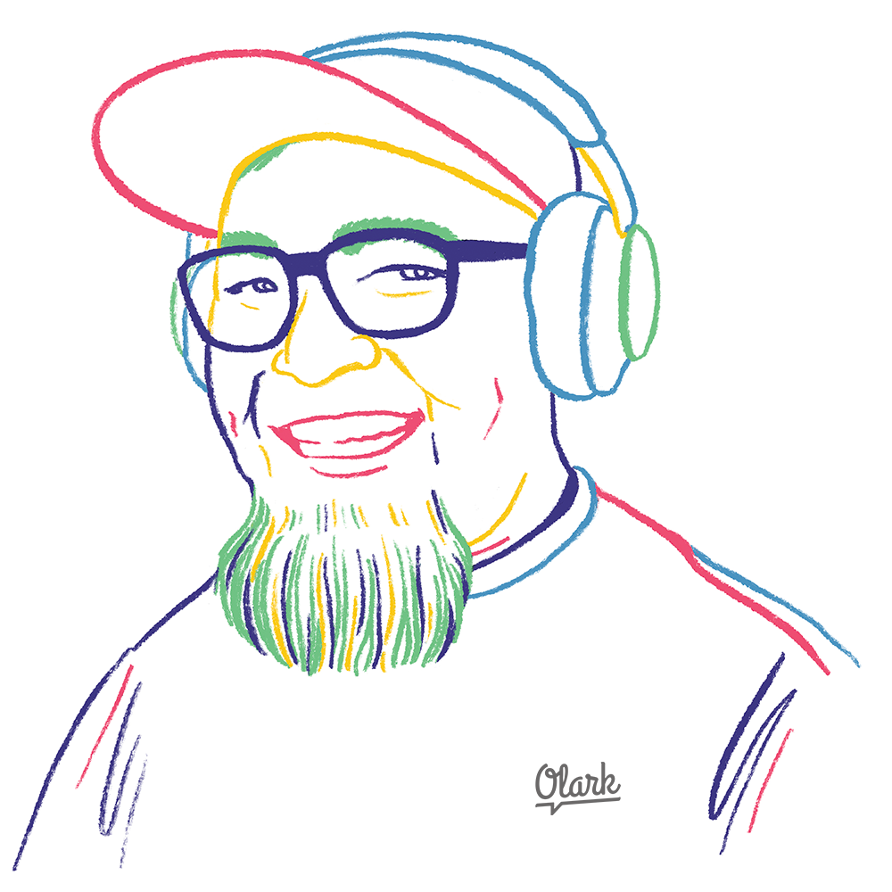illustration of a smiling man wearing headphones and an Olark tee shirt