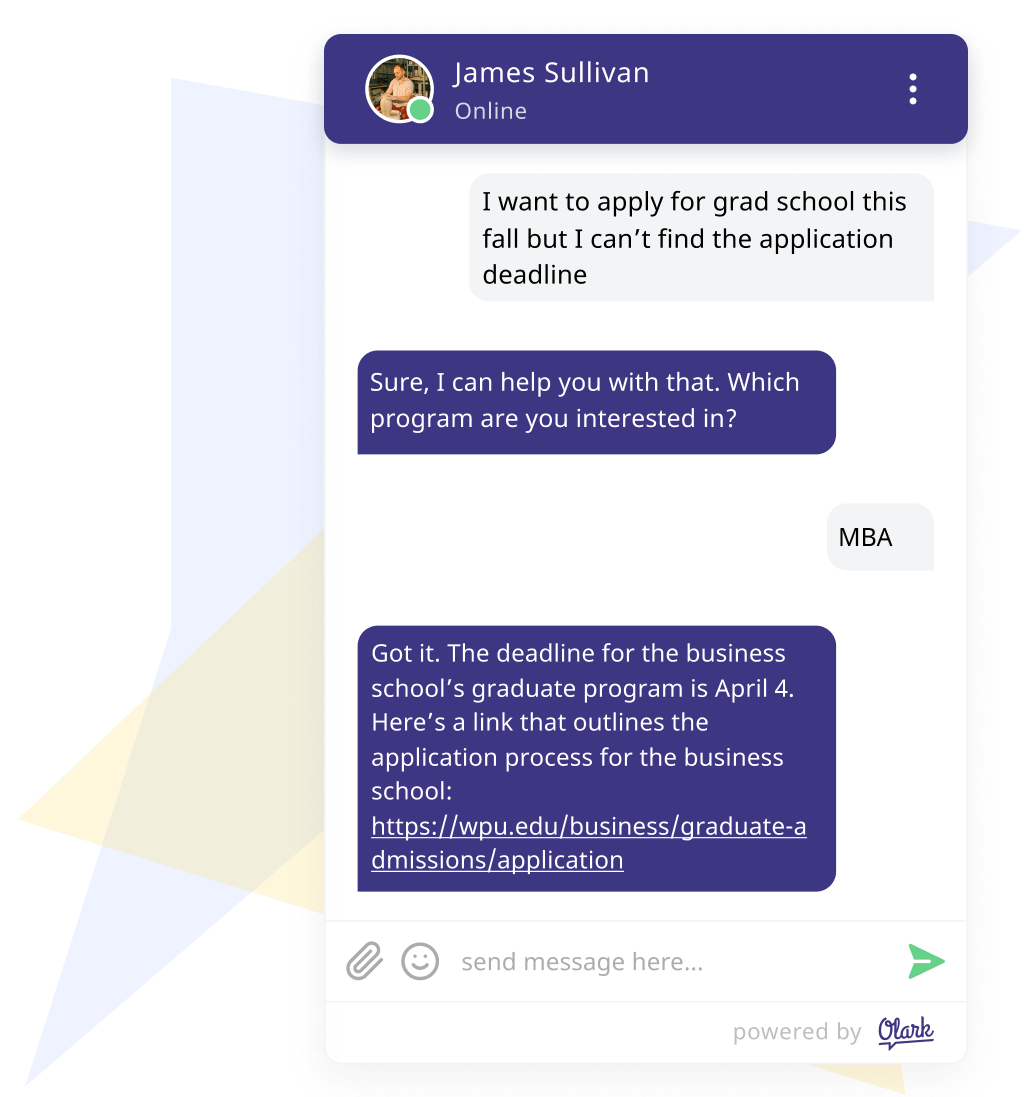 an Olark chat box showing a chat with an agent and student discussing an admissions deadline.