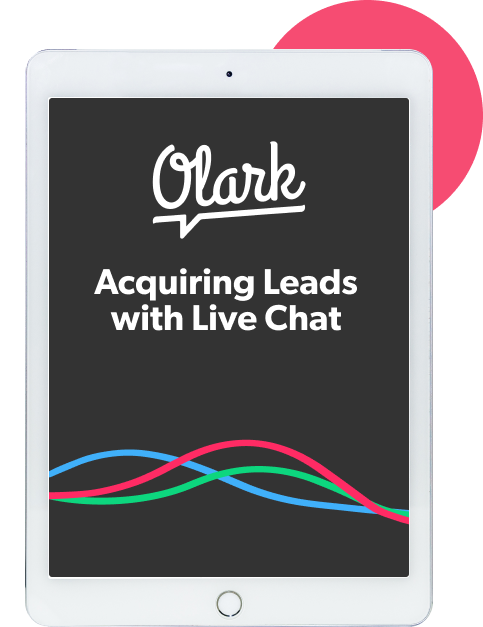 Tablet device showing an ebook cover titled Acquiring Leads with Live Chat