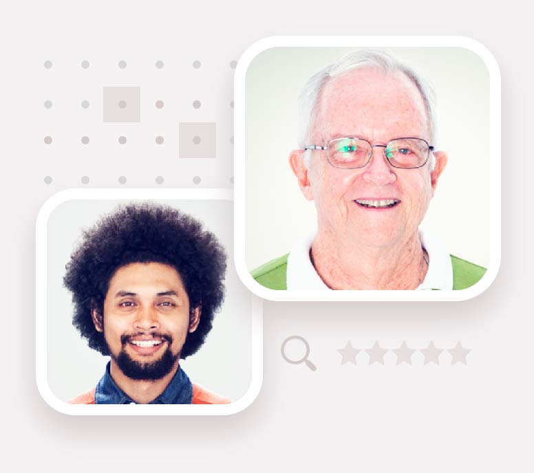 Two portraits of live chat agents