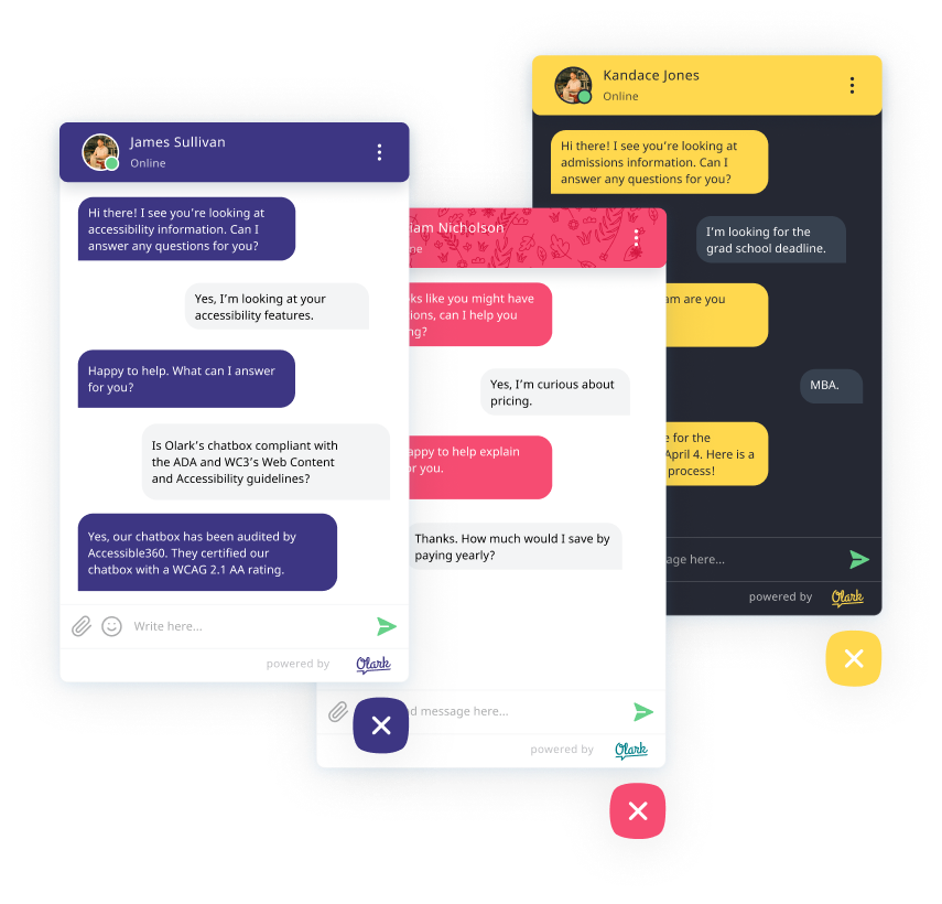 Olark chat boxes showing different types of online conversations.