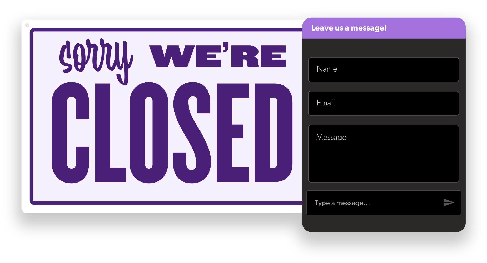 graphic showing a 'Sorry, we're closed' sign next to Olark's offline chatbox ready to take a message