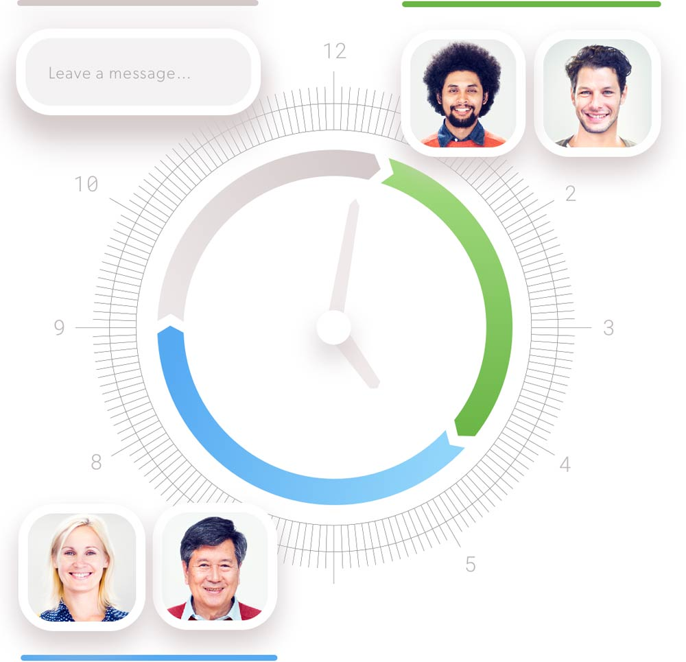 graphic showing a 24-hour example chat schedule with different teams of agents and a period of offline time